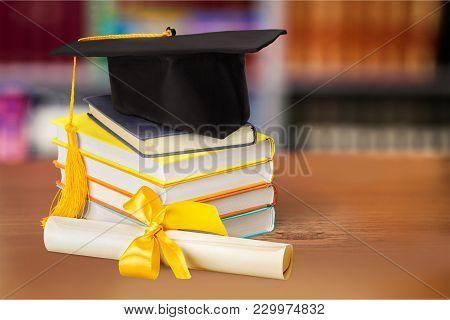 Stack Hat Books Graduation Grad White Background