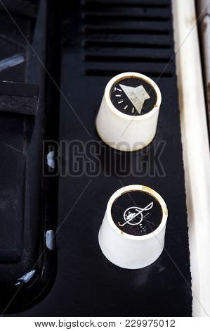 Volume And Tone Knobs Of Vintage Suitcase Turntable. Closeup Image