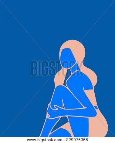 A Sitting Girl, She Holds Her Hand To Her Bare Knee, A Minimalistic Illustration, On The Theme Of Fa