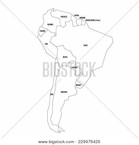 Political Map Of South America. Simplified Thin Black Wireframe Outline With National Borders And Co
