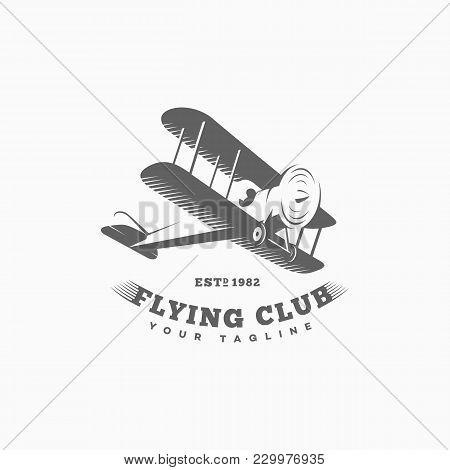 Biplane Logo, Label Template Design. Vector Illustration.