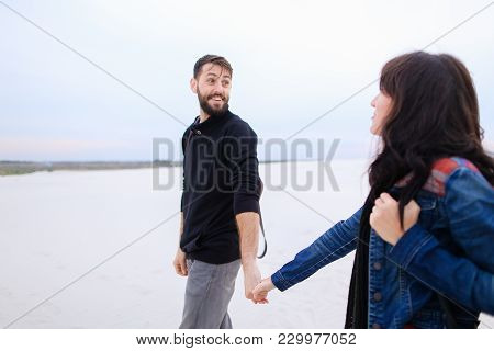 Husband Tell Wife About Purchase Plot Of Land For House At Seaside, Happy Lady Jumping For Joy Embra