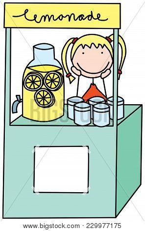 Cartoon Illustration Of Girl Selling Fresh Lemonade