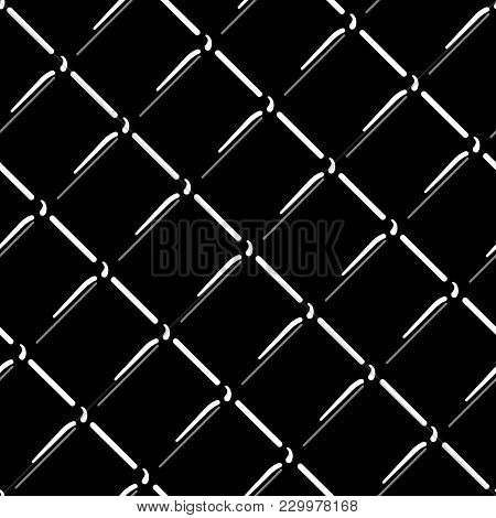 Vector Wire Mesh Seamless Pattern. Gray Wire Mesh Isolated On Black Background