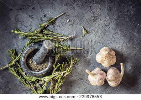 Branch Bunch Fresh Rosemary Dried Leaves Spice In Mortar Pounder And Garlic Food Concept Grass Crop