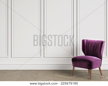 Armchair In Art Deco Style In Classic Interior With Copy Space.white Walls With Mouldings. Floor Par