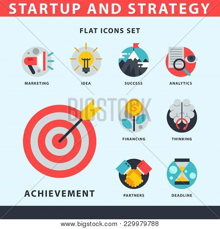 Startup And Strategy Web Busines Sblack And Purple Icon Set Suitable For Info Graphics Websites Ui M