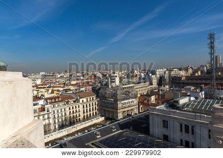 Madrid, Spain - January 24, 2018:  Panoramic View Of City Of Madrid From Cybele Palace (palacio De C
