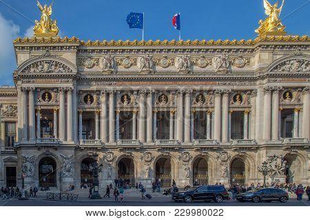 Paris, France - October 11, 2015: Opera National De Paris, Front Facade. Grand Opera (garnier Palace