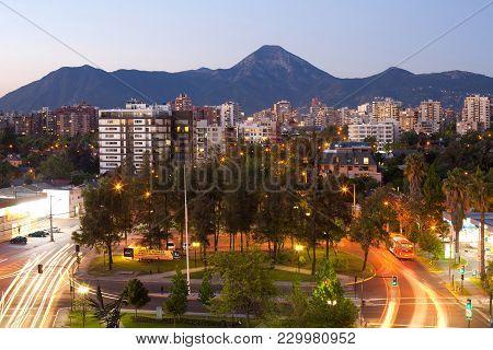 Santiago, Region Metropolitana, Chile - December 01, 2017: A Residential Neighborhood And Manquehue