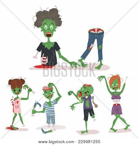 Colorful Zombie Scary Cartoon Elements Halloween Magic People Body Fun Group Cute Green Character Pa