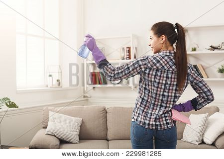 Unrecognizable Woman With Equipment Ready To Clean House. Cropped Girl Holding Rag And Spray Deterge