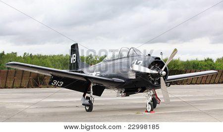 PILSEN, CZECH REPUBLIC - AUGUST 27: Historic american training plane T28 Trojan Air Bear, Pilsen Aeronautical Days on August 27, 2011 in Pilsen CZECH REPUBLIC.