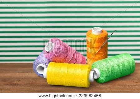 Colorful Thread Spools Activity Red Colors Background