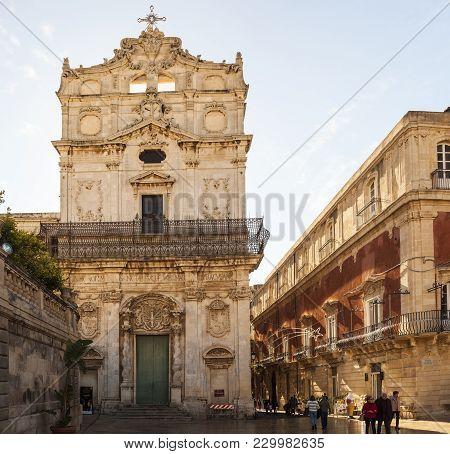 Siracusa, Italy - December, 31: View Of The Santa Lucia Alla Badia Church And Borgia Del Casale Pala