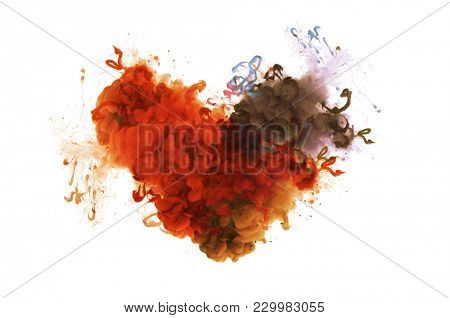 Acrylic colors in water. Abstract background. Isolation. Broken heart concept. Ink blot.