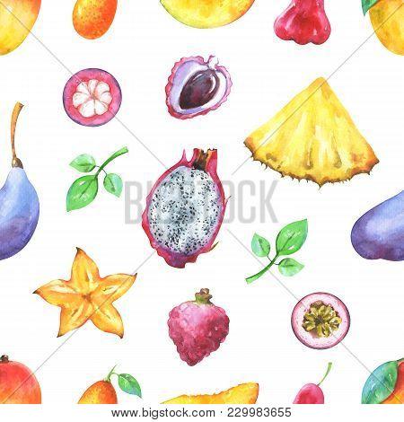 Hand Painted Seamless Exotic Pattern With Watercolor Mango, Pineapple, Carambola, Pitaya, Lychee, Pa