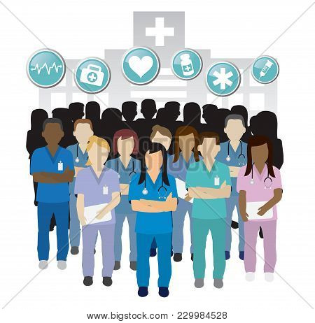 Serious Nurse Group Team Work  In Front Of An Hospital Building Concept With Icons