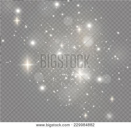 White Sparks And Golden Stars Glitter Special Light Effect. Vector Sparkles On Transparent Backgroun