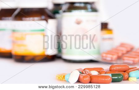 Drugs In Packaging,colorful Of Oral Medications On White Background,drugs Or Pills Health Care Conce