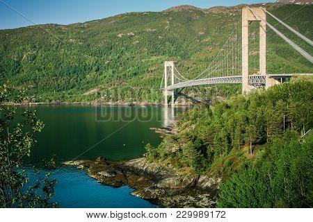 Great Modern Suspension Skjomen Bridge In Norway In Summer