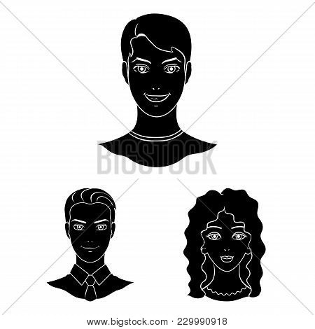 Avatar And Face Black Icons In Set Collection For Design. A Person's Appearance Vector Symbol Stock