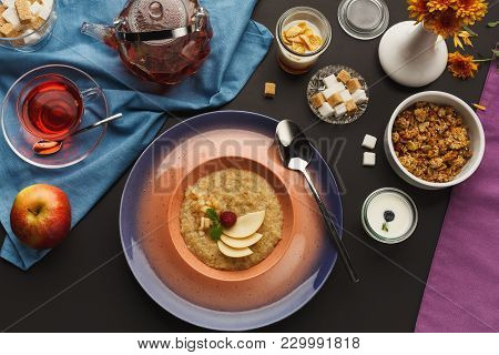 Restaurant Dish Background. Juicy Medium Beef Steak With Sauce And Grilled Vegetables. Healthy Exclu