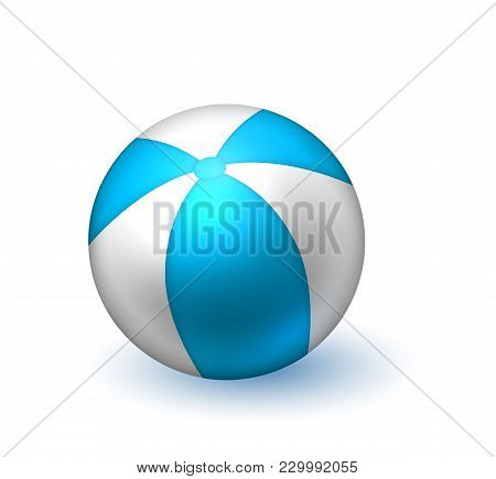 Realistic Inflatable Ball. White Blue Stiped Beach Ball, Pool Bounce, Holiday Summer Play, Vacation