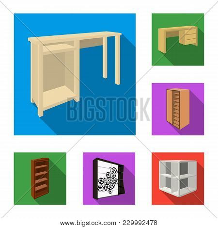 Bedroom Furniture Flat Icons In Set Collection For Design. Modern Wooden Furniture Isometric Vector