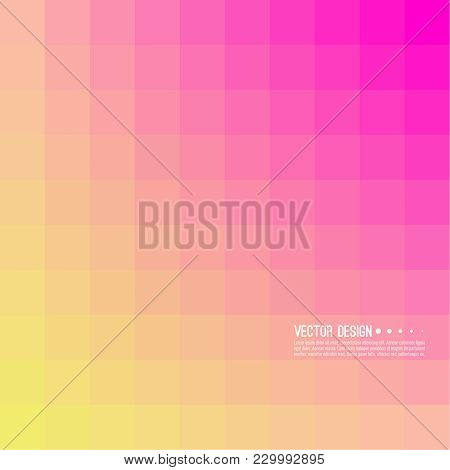 Abstract Background With Rhythmic Overlapping Squares. Transition And Gradation Of Color. Vector Ble
