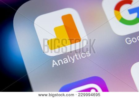 Sankt-petersburg, Russia, March 7, 2018: Google Analytics Application Icon On Apple Iphone X Screen