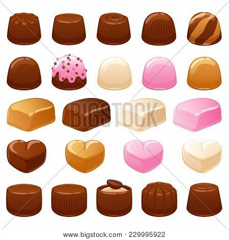 Chocolate Candies Set. Assorted Sweets. Dark Chocolate, Caramel Toffee, Strawberry And Vanilla Flavo