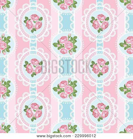 Shabby Chic Rose Seamless Pattern On Pink Background. Vector Illustartion.