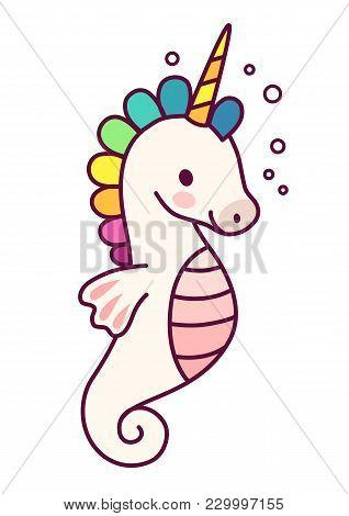 Cute Unicorn With Purple Mane Simple Cartoon Vector Illustration. Simple Flat Line Doodle Icon Conte
