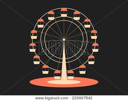 Ferris Wheel. Attraction From The Amusement Park. Retro Style, Typographical Design. Vector Illustra