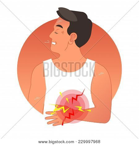Painful Stomach Concept Vector Illustration With Human Torso. Graphic Symbol Pain Circles. Gastric H