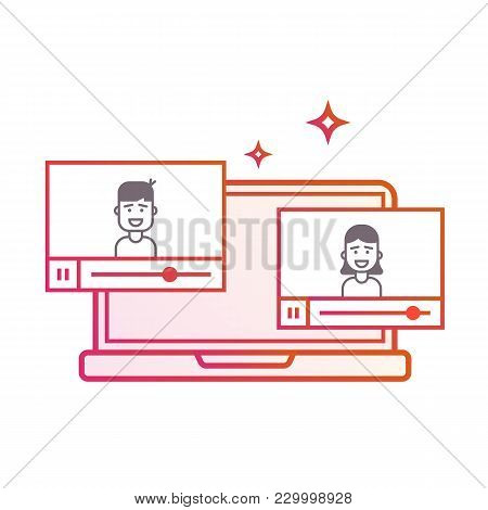 Video On Laptop Or Background Background. Videoblogers. The Guy And The Girl Leading. Gradient Line