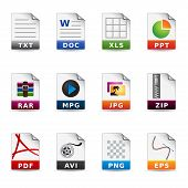 File type icon set. Fully editable eps file format. poster