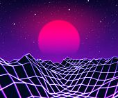 Neon grid landscape and purple sun with old 80s arcade game style for New Retro Wave party poster or 80s revival music album cover poster