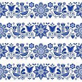 Folk art seamless vector floral pattern, Scandinavian navy blue repetitive design, Nordic ornament poster