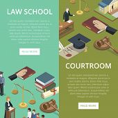 Law school isometric flyers with justice symbols. Judge gavel, jury trial, oath of bible, law books, courthouse building, defendant with lawyer, scales of justice. Legal education vector illustration. poster