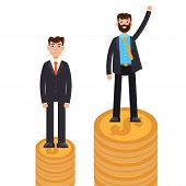 Business difference and discrimination,  man versus man, Inequality concept. Vector illustration. poster
