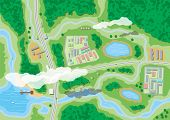 Suburban map with houses with car, boats, trees, road, river, forest, lake and clouds. Village aerial view. Vector illustration in flat style poster