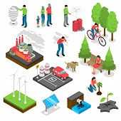 Ecology isometric set with green energy, air and water pollution, electric car, nature revival isolated vector illustration poster