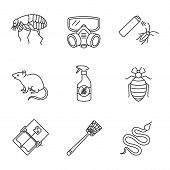 Pest control linear icons set. Flea, respirator, cockroach repellent, mouse trap, rodent, bed bug, snake, fly-swatter. Thin line contour symbols. Isolated vector outline illustrations poster