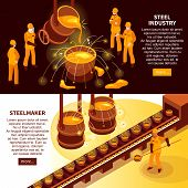 Metallurgy industry 2 isometric banners with steel makers in foundry and cast iron molds conveyor vector illustration poster