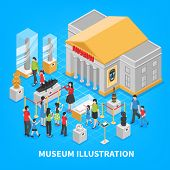 Museum isometric composition with building outside, historical exposition, visitors adults and kids on blue background vector illustration poster