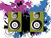Vector - 3D music speakers against a grunge ink splat background with vines and florals. poster