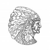 Doodle art illustration of a Native American, American Indian, Indian or Indigenous American, the indigenous people of United States, wearing war bonnet or headdress in black and white mandala style. poster