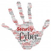 Conceptual cyber security online access technology hand print stamp word cloud isolated background. Collage of phishing, key virus, data attack, crime, firewall password, harm, spam protection poster